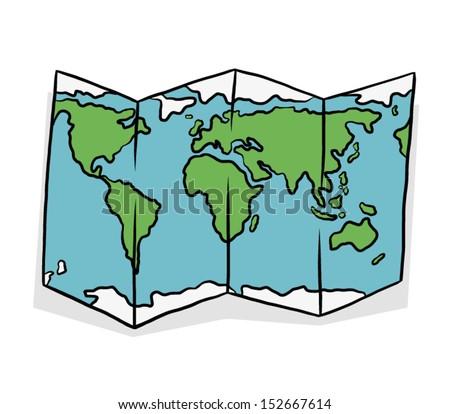 Color Map Paper Cartoon Vector Illustration Stock Vector (Royalty ...