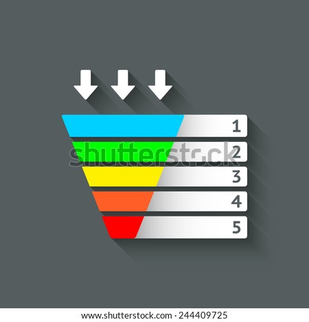 color marketing funnel symbol - vector illustration. eps 10 - stock vector
