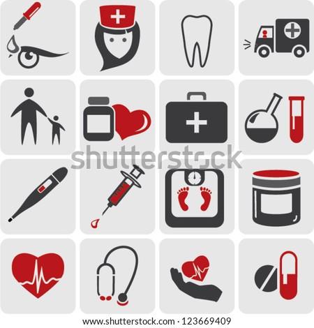 color medicine icons - stock vector