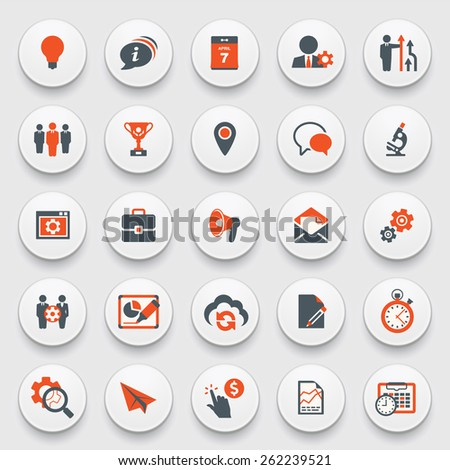 Color modern icons on white buttons. Flat design. - stock vector