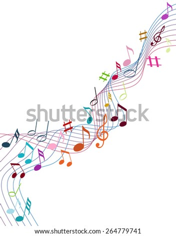 Color music notes on a solide white background - stock vector