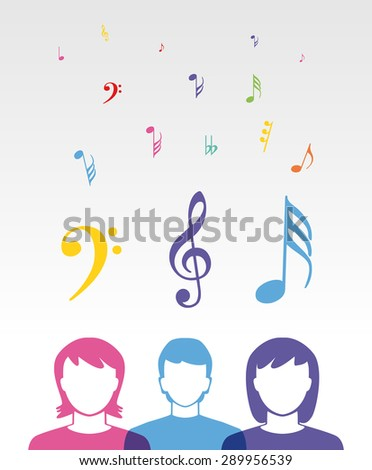 color music people listening songs - stock vector