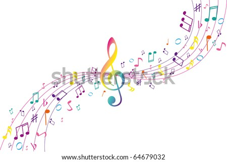 Color musical background - stock vector