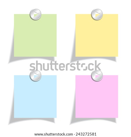 Color note papers set - stock vector
