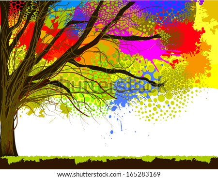 color of tree stain watercolor. Vector - stock vector