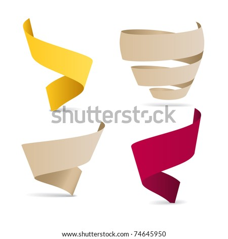 Color origami ribbons. Place your text here - stock vector