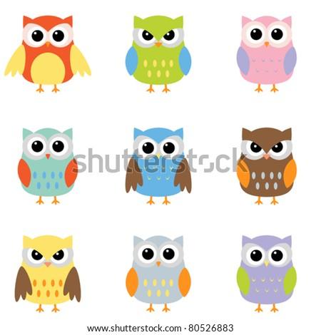 Color owls clip art - stock vector