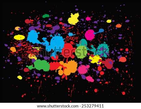 Color paint splashes.Abstract splash set.Vector illustration. - stock vector
