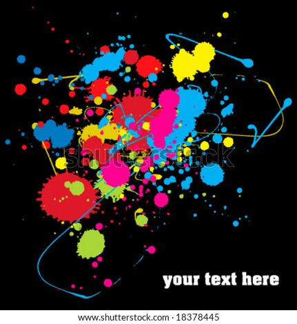 Color paint splashes background. Vector. - stock vector
