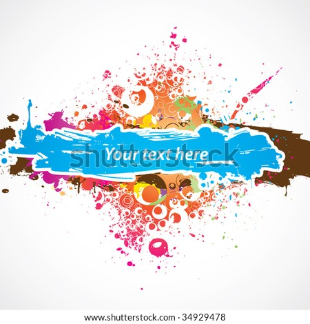 Color paint splashes background. Vector.