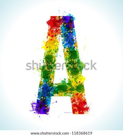 Color paint splashes. Gradient vector font. Letter A - stock vector