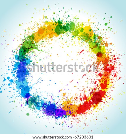 Color paint splashes round background. Gradient vector frame. - stock vector