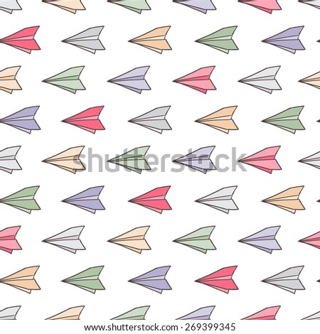 Color paper airplanes. Seamless pattern vector illustration - stock vector