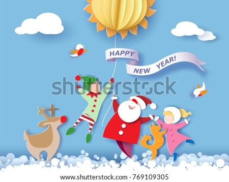 Color paper cut design and craft winter landscape with reindeer, Santa Claus, dog, boy and girl and digit 2018. Holiday New year and Merry Christmas card. Vector illustration