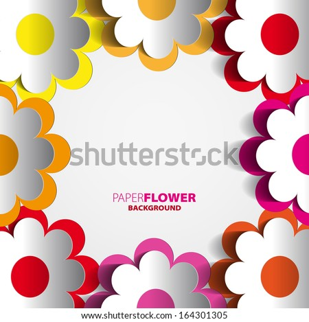 Color paper flowers cutout background eps10 - Vector illustration - stock vector