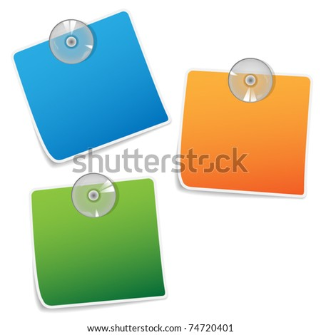 color papers wit sucking discs - stock vector