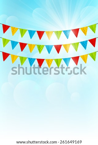 Color party flags on sunny background - stock vector