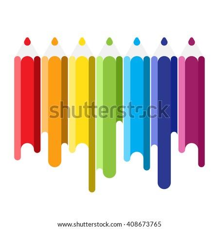 Color pencil. Pencil with color paint flows. Set of the color pencil. Color pencil with paint flows. Rainbow multicolored pencil. Color pencil on white. Vector pencil illustration - stock vector