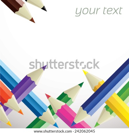 Color pencil texture - color pencils on each other - with place for your text - stock vector
