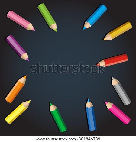 Color pencils frame. Blackboard background. - stock vector