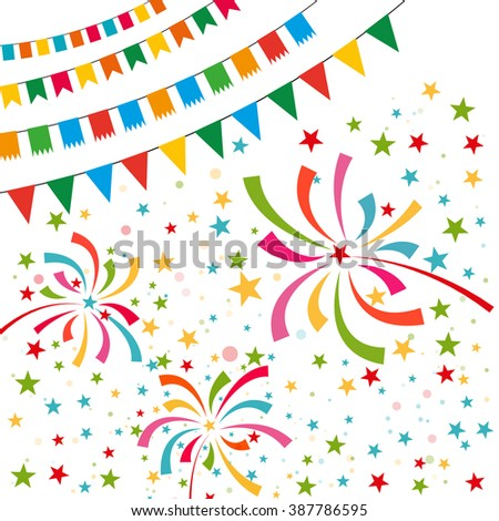 Color pennant bunting collection triangular and square red, yellow, blue, green, orange colors on white background with color firework around, vector iilustration. for web design. greeting card, party
