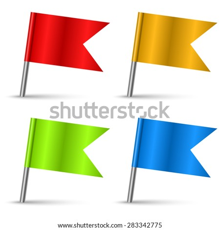 Color pin flags set vector template isolated on white background. - stock vector