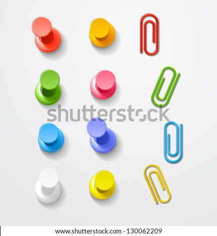 Color pins and clips collection - stock vector