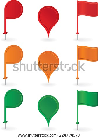 Color pins and flags collection . Vector illustration - stock vector