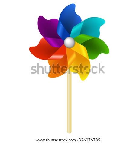 Color Pinwheel With Gradient Mesh, Vector Illustration - stock vector