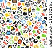Color pixel style icons seamless background - stock vector