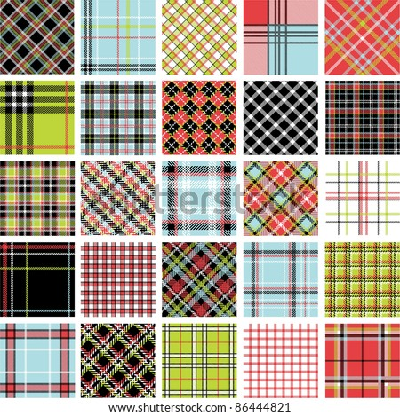 Color plaid patterns set - stock vector