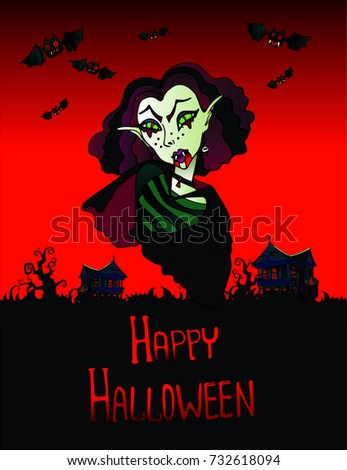 Color postcard greetings halloween cartoon ugly stock vector color postcard greetings for halloween with cartoon ugly girl vampire on background of red sky and m4hsunfo