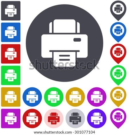 Color Printer Icon Button Symbol Set Stock Vector Royalty Free