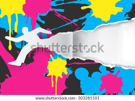 Color printing promotion background. Male silhouette ripped paper background with With colorful stains. Vector illustration. Concept for presenting color printing press.Vector available. - stock vector