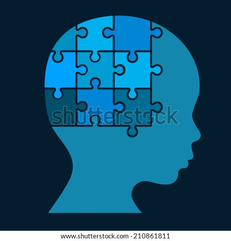 Color Puzzle Human Head Silhouette. Vector Illustration - stock vector