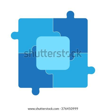 Color Puzzle set of five pieces - stock vector