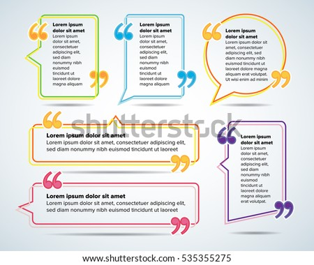 Color Quote Blank Templates Quote Bubble Stock Vector - Blank template for business cards
