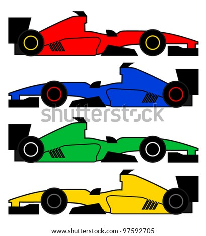 Color racing cars - stock vector