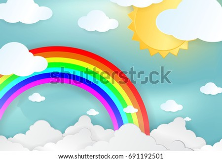 Color Rainbow With Clouds and Sun on blue sky paper design, With Gradient Mesh, Vector paper art style