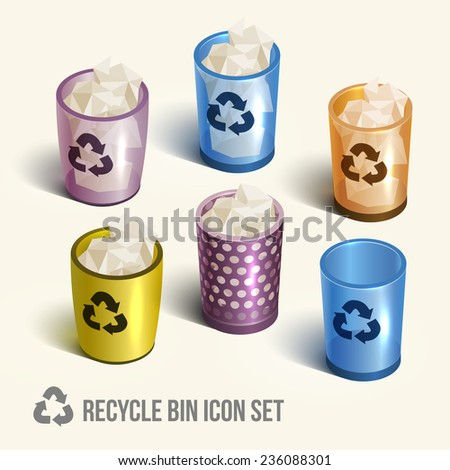 color realistic recycle bin icon. Vector illustration.  - stock vector
