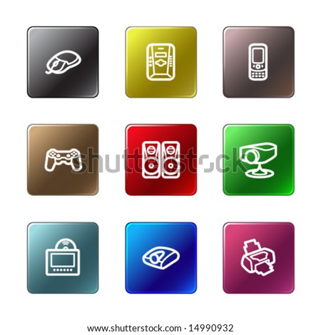 Color rectangle web icons, set 21 - stock vector