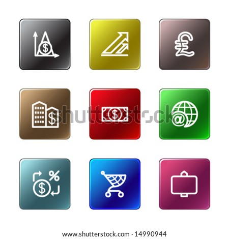 Color rectangle web icons, set 23 - stock vector