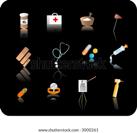 Color reflective medical icon set