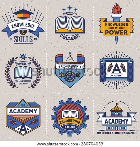 Color retro design insignias high education logotypes set 2. Vector vintage elements. Cardboard texture. - stock vector