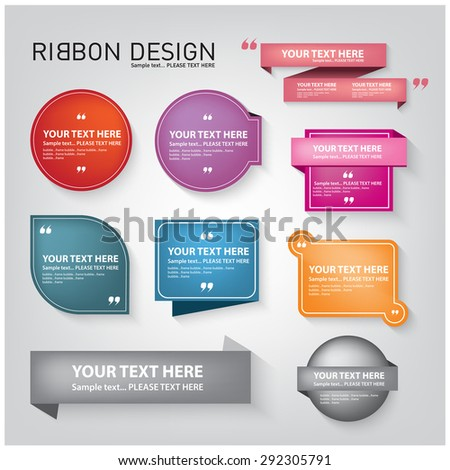 color ribbon and tag design with a simple symbol . - stock vector