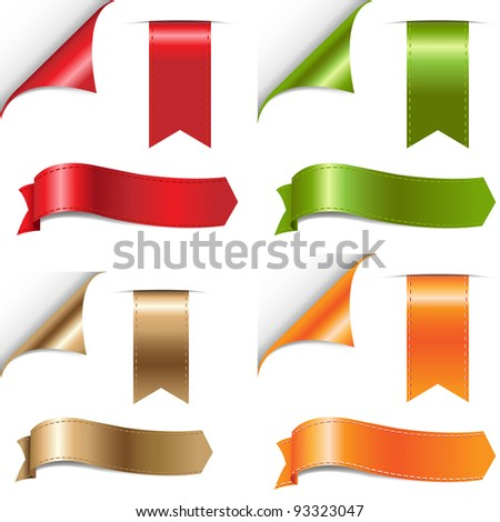 Color Ribbons Set, Isolated On White Background, Vector Illustration - stock vector