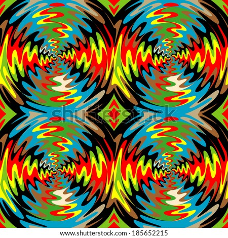 Color rotation effect. Bright background with the optical illusion of rotation. Spinning color background. Psychedelic background. Abstract background, seamless pattern - stock vector