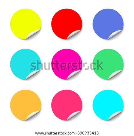 Color round stickers with curled edge vector template isolated on white background. - stock vector
