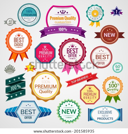 Color sale premium quality best choice exclusive labels set isolated vector illustration - stock vector