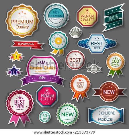 Color sale premium quality best choice exclusive stickers set isolated vector illustration - stock vector